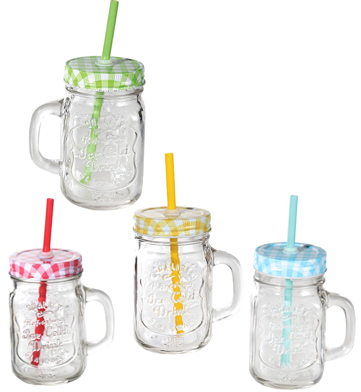 Bicchiere boccale barattolo in plastica per becanda con tappo e cannucci